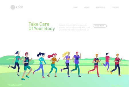 Landing page template with running group People, man doing workout, couple running. Healty life concept. People performing sports outdoor activities. Cartoon illustration Ilustração
