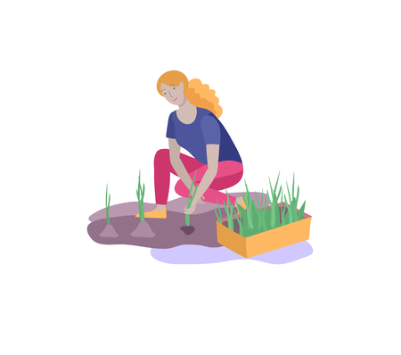 Harvesting and gardening people woman doing farming and garden job, remove weeds, watering, planting, growing and transplant sprouts. Spring concept Foto de archivo - 121289758