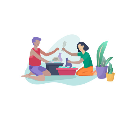 Scenes with family doing housework, couple man and woma home cleaning, washing dishes, wipe dust, water flower. Vector illustration cartoon style