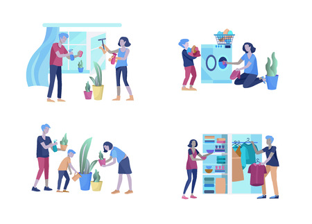 Scenes with family doing housework, kids helping parents with home cleaning, washing, fold clothes, cleaning window, carpet and floor, wipe dust, water flower. Vector illustration cartoon style