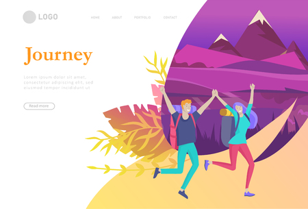 landing page template. People characters woman for hiking and trekking, holiday travel vector, hiker and tourism illustration. Happy Tourists travelling. Vector cartoon style illustration Ilustração