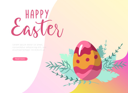 Easter landing page template with cartoon painted eggs and floral elements Vector Illustration Spring holiday celebration design.