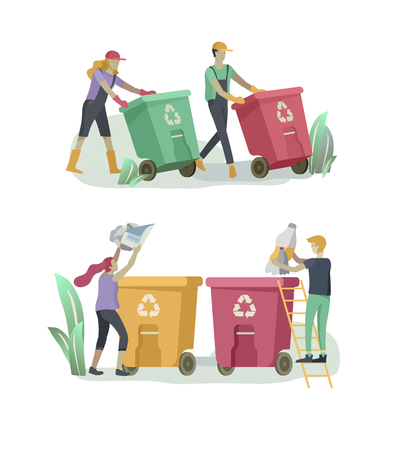 people Recycle Sort organic Garbage in different container for Separation to Reduce Environment Pollution. Man and woman collect garbage. Environmental day vector cartoon illustration Ilustração