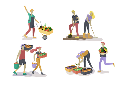Menschen ernten und gärtnern, die Landwirtschaft und Gartenarbeit machen, Beeren pflücken, Unkraut entfernen, gießen, pflanzen, wachsen und Sprossen verpflanzen, reifes Gemüse in Kartons legen. Erntekonzept