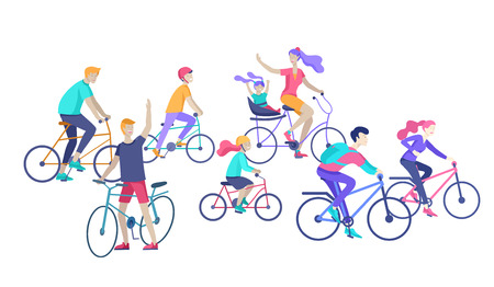 Young woman and man ride the bike, family and friends riding bicycles. Mom, dad and children on bike and cycling together. Sports outdoor activity. Cartoon vector illustration Ilustração