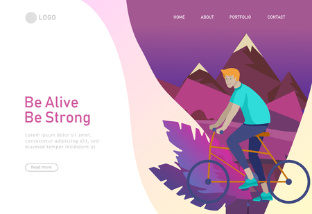 Landing page template with man riding bicycles in Mountain landscape. People cycling outdoor activities concept at park, healty life style. Cartoon illustration