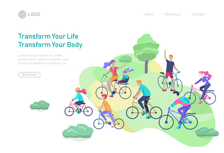 Landing page template with family riding bicycles, man waving his hand, mother riding bicycles with child. People cycling outdoor activities concept at park, healty life style. Cartoon illustration