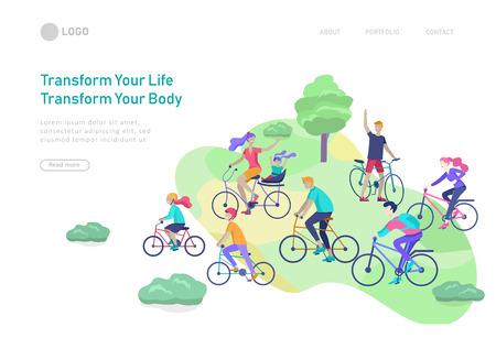 Modèle de page de destination avec famille à bicyclette, homme agitant la main, mère à bicyclette avec enfant. Les gens font du vélo concept d'activités de plein air au parc, style de vie sain. Illustration de dessin animé