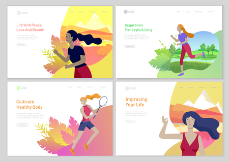 Landing page template with woman healty life style concept. Girl outdoor activities, running, play tennis, doing yoga. People performing sports at park or Nature. Vector Cartoon style illustration