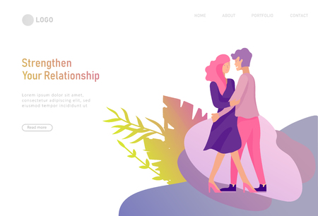 landing page template with Happy Lover Relationship, online dating scenes with romantic couple kissing, hugging, walking. Characters Valentine day Set. Colorful vector illustration Ilustração
