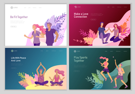 landing page template with Happy Lover Relationship, scenes with romantic couple walking outdoor, playing tennis, doing yoga, running, dansing. Characters Valentine day Set. Colorful illustration
