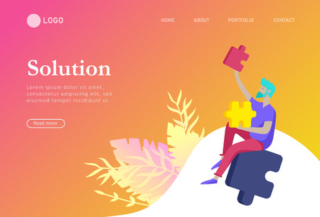 Landing page templates. Vector character business people with infographic of puzzle have solution. Goal thinking. Cooperation by group to create a team. Concept for web design Colorful flat concept illustration.