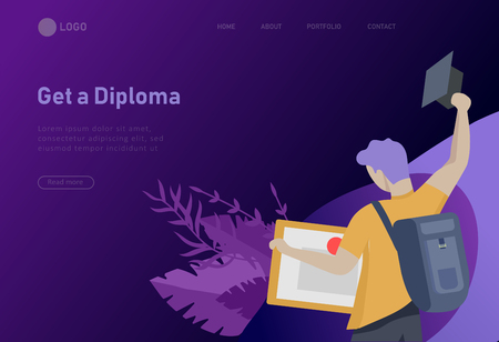 Set of web page design templates with smiling graduates people in graduation gowns holding diplomas and happy Jumping. Modern vector illustration concepts for website and mobile website development