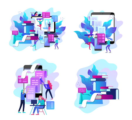 Concept vector illustration of business Blogging, people and education technology. Vector illustration news, copywriting, seminars, tutorial, creative writing. Landing page template Ilustração