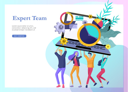 landing page templates set with team People moving. Business invitation and corporate party, design training courses, about us, expert team, happy teamwork. Flat characters design illustration Ilustração