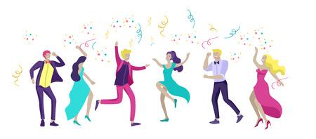 Groep lachende jongeren of studenten in avondjurken en smokings, vrolijk springen en dansen. Prom party, prom night uitnodiging, promenade school dans concept. Vector illustratie concept