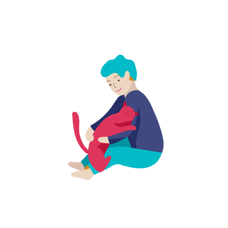 Vector illustration of child with cats and dog. Happy, funny kids playing, love and taking care of kittens, pet animals in flat cartoon style. Illustration