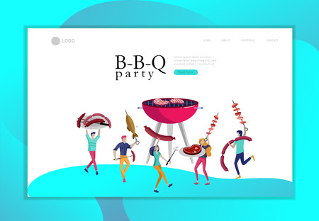 Landing page template people preparing barbecue. BBQ party. People grilling meat. Conceptual Modern and Trendy colorful vector illustration. Web template. Çizim