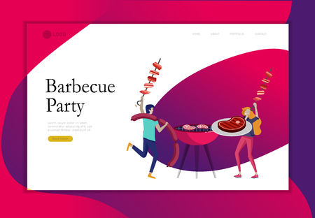 Landing page template people preparing barbecue. BBQ party. People grilling meat. Conceptual Modern and Trendy colorful vector illustration. Web template. Illustration
