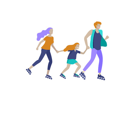 Collection of family hobby activities. Mother, father and children teach ride roller skating together. Cartoon vector illustration