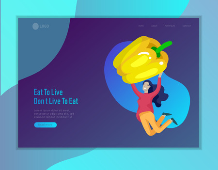 Landing page template with Happy People with vegetable, woman jumping and dansing. Vegetarianism, healthy lifestyle. Veggie recipe, vegetarian diet and detox, eco friendly. Colorful illustration Çizim