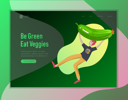 Landing page template with Happy People with vegetable, man jumping and dansing. Vegetarianism, healthy lifestyle. Veggie recipe, vegetarian diet and detox, eco friendly. Colorful illustration