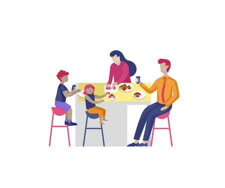 Collection of family hobby and activities. Mother, father and children have dinner relaxing at home with gadgets together. Cartoon vector illustration