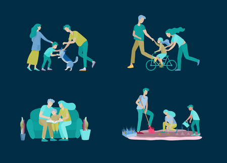 Collection of family hobby activities . Mother, father and children teach daughter to ride bike, play with dog corgi, read book and teach child, gardening and plant sprouts. Cartoon illustration Illustration