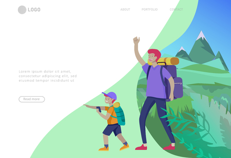 Landing page template with Father with son are hiking. Family performing sports outdoor activities at park or Nature. Cartoon illustration