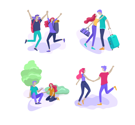 Happy Lover Relationship, scenes with romantic couple kissing, hugging, riding bicycle, walking, playing tennis, guitar, doing yoga, dansing. Characters Valentine day Set. Colorful vector illustration