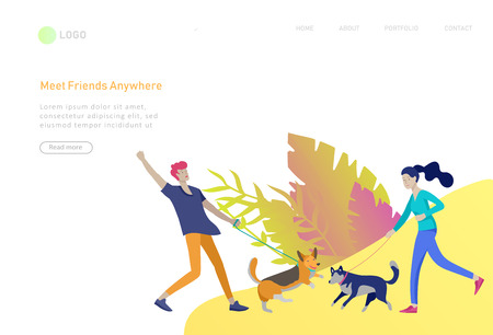 Landing page template with People Spending Time, Relaxing on Nature, man and woman walking dog. Cartoon illustration