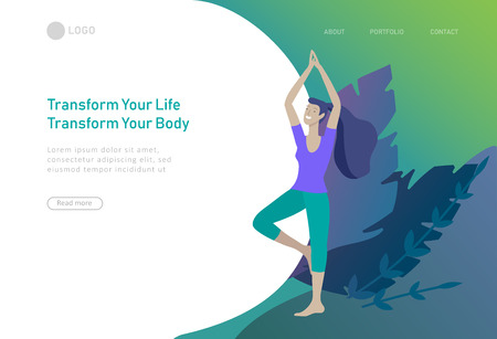 Web page design template with woman meditate, sitting in yoga posture at home and at outdoor. Practice yoga lesson on nature. Mental health concept. Vector illustration cartoon Vettoriali
