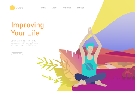 Web page design template with man meditate, sitting in yoga posture at home and at outdoor. Practice yoga lesson on nature. Mental health concept. Vector illustration cartoon