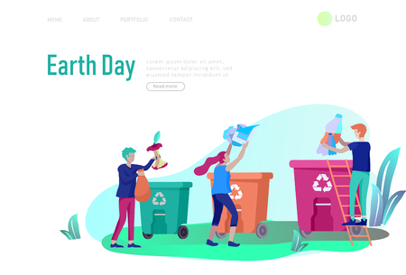 Landing page template with people Recycle Sort Garbage in different container for Separation to Reduce Environment Pollution. Family with kids collect garbage. Earth Day vector cartoon illustration Illustration
