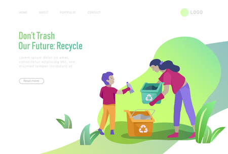 Landing page template with people Recycle Sort Garbage in different container for Separation to Reduce Environment Pollution. Family with kids collect garbage. Earth Day vector cartoon illustration Stock Vector - 122793903