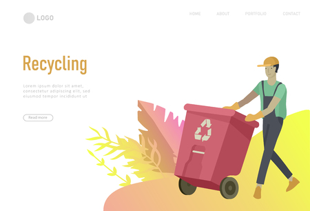 Landing page template with people Recycle Sort Garbage in different container for Separation to Reduce Environment Pollution. Family garbage. Earth Day vector cartoon illustration Stock Vector - 121875780