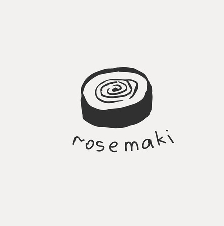 Collection of the different japanese food. Hand drawn line art set of the food icon  イラスト・ベクター素材