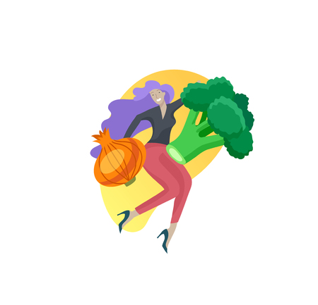 Happy People with vegetables jumping and dansing. Vegetarianism, healthy lifestyle. Veggie recipe, vegetarian diet, meat abstaining, eco friendly. Colorful vector illustration Illustration