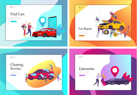 Landing page template mobile city transportation, online limousine, car sharing with family character and smartphone. People characters and automobile repair service, cleaning vehicle. Car wash Standard-Bild - 122793907