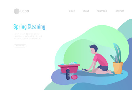 landing page template people home cleaning, washing, cleaning carpet and floor, wipe dust. Vector illustration cartoon style