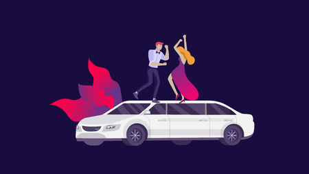 Mobile city transportation, online limousine sharing with woman in elegant evening dress and man beside luxury limousine and smartphone. Vector flat style illustration  イラスト・ベクター素材