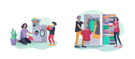 Scenes with family doing housework, kids helping parents with home cleaning, fold clothes in wardrobe, washing clothes in machine, wipe dust. Vector illustration cartoon style Ilustração