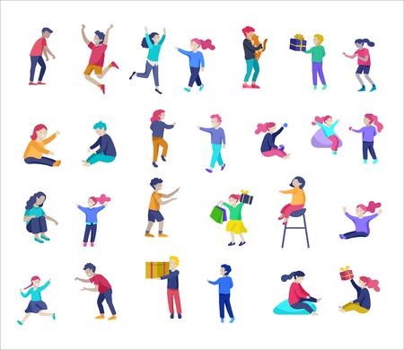 Illustration d'enfants jouant et faisant des activités, enfants avec des gadgets, courir, sauter et avec des sacs et des cadeaux