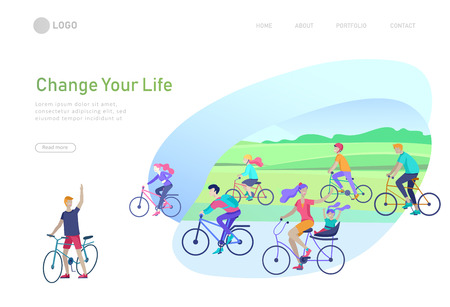 Landing page template with family riding bicycles, man waving his hand, mother riding bicycles with child. People cycling outdoor activities concept at park, healty life style. Cartoon illustration 版權商用圖片 - 122954946