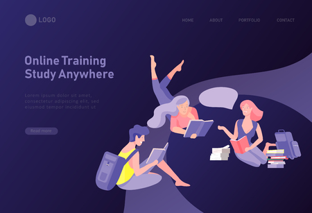 Ensemble de modèles de conception de pages Web avec des personnes d'apprentissage décontractées en plein air pour l'éducation, la formation et les cours en ligne. Concepts d'illustration vectorielle moderne pour le développement de sites Web et de sites Web mobiles Vecteurs