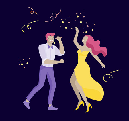 Group of smiling young people or students in evening dresses and tuxedos, happy Jumping and dansing. Prom party, prom night invitation, promenade school dance concept. Vector illustration concept Stock fotó - 122954978