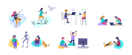 Set of Happy school children performing various activities or hobbies, playing games on computer or console, programming, launching drone, wearing VR headset. Flat cartoon vector illustration