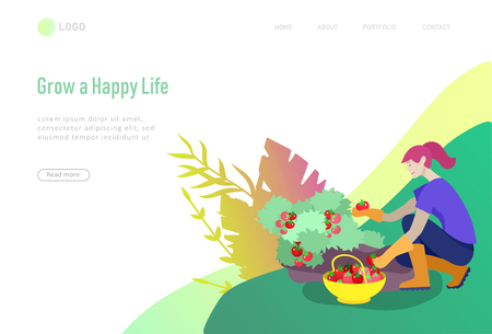 landing page template Harvesting and gardening people, woman and man doing farming and garden job, planting, lay ripe vegetables to box. Reaping crop concept Ilustração