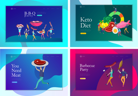 Landing page template people preparing barbecue. BBQ party. People grilling meat. Keto diet Cartoon people characters concept with low carb diet chart. Healthy ketogenic state