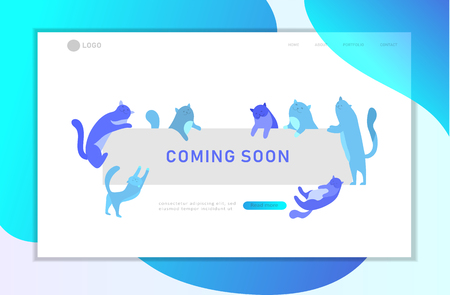 Landing page template with Cute cats holding blank banner with coming soon message. Happy cute kitten. Cartoon style vector illustration